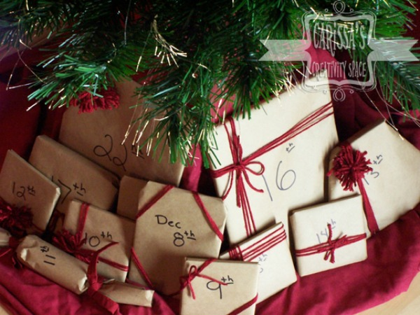 advent calendar tree books presents brown paper gift wrap