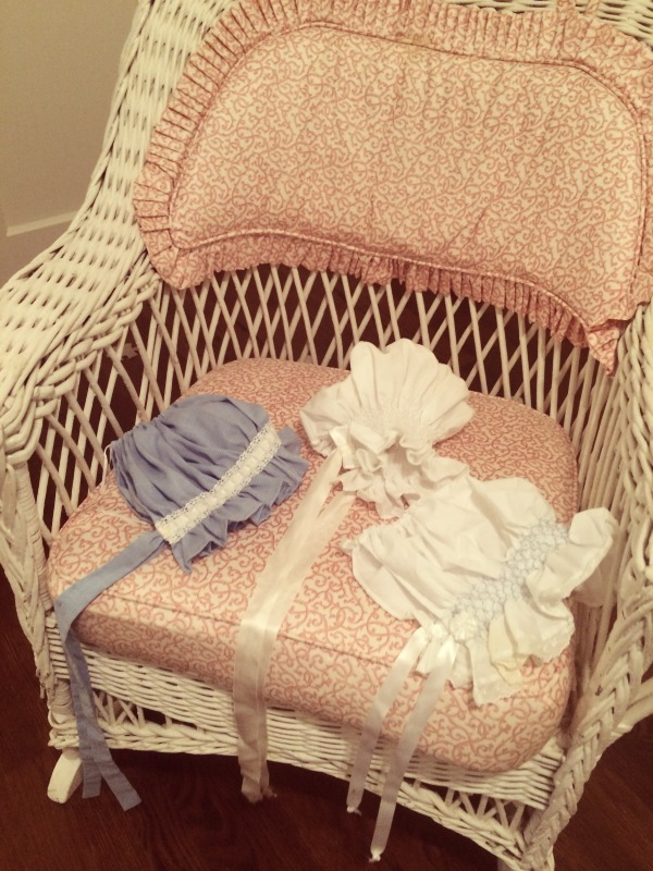 bonnets in rocking chair