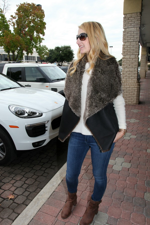 gift basket, holiday gift ideas, dallas blogger, saint bernard, faux fur vest