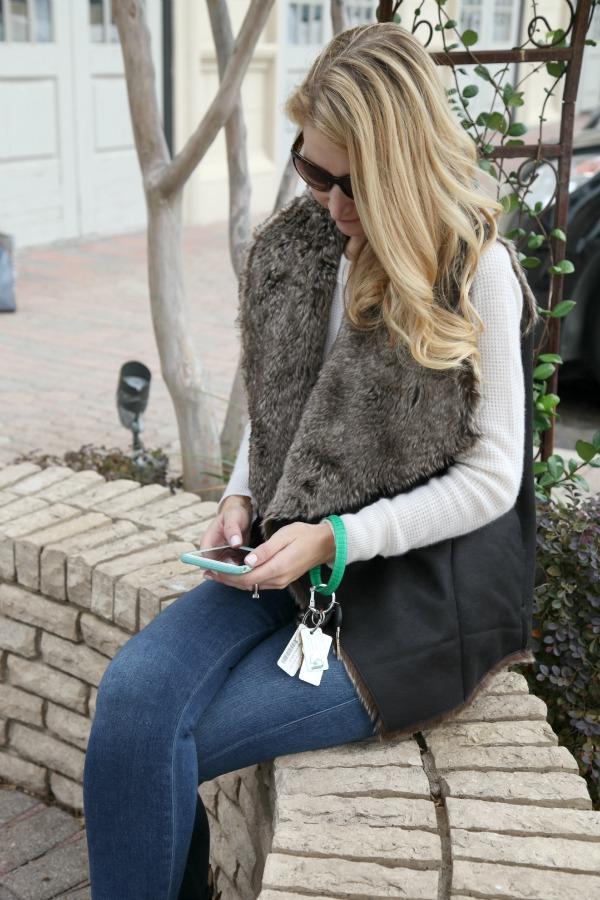 gift basket, holiday gift ideas, dallas blogger, saint bernard, faux fur vest, big o key ring