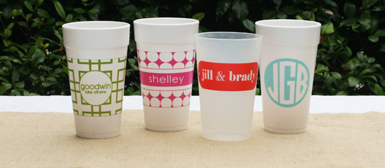 custom monogrammed cups, monogrammed coffee cups, monogrammed styrofoam cups, personalized gifts, personalized holiday gifts