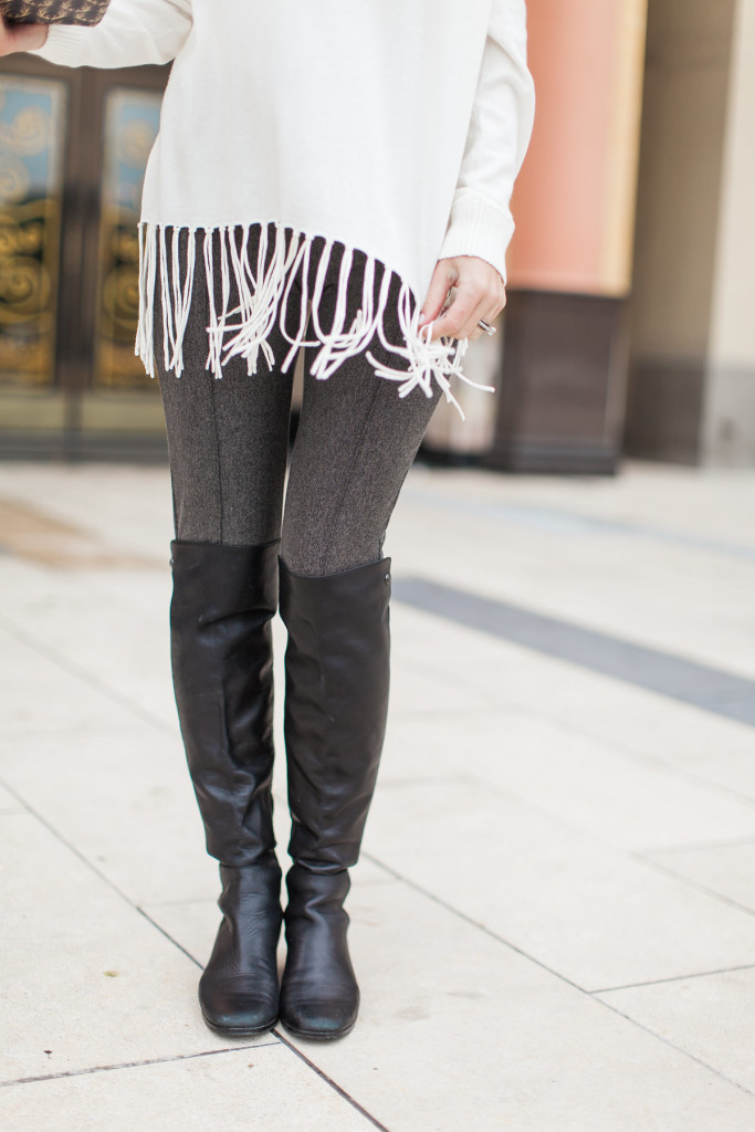 dallas fashion blogger, fringe sweater, over the knee boots, august california