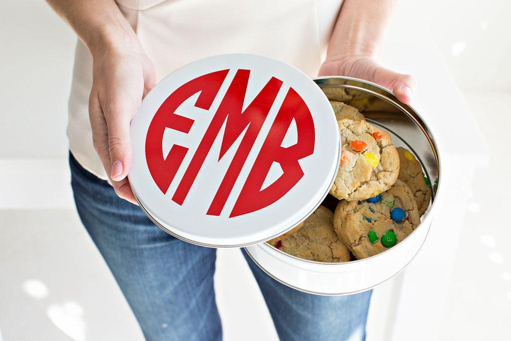 monogrammed cookie tin