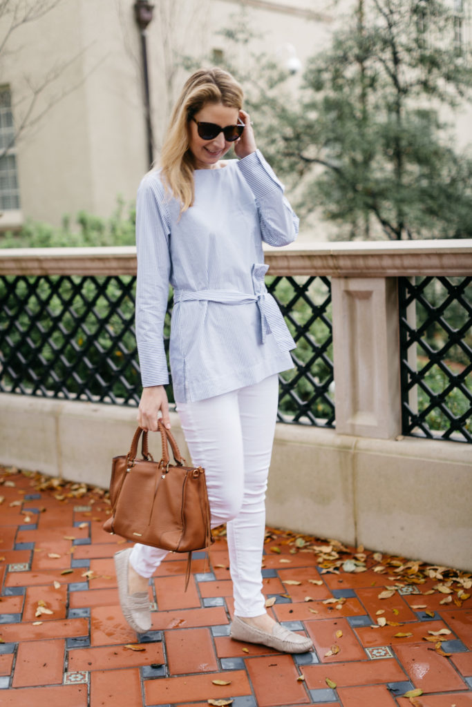 j.crew blue and white striped blouse