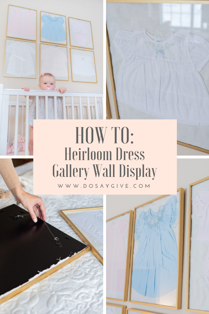 heirloom dress gallery wall display