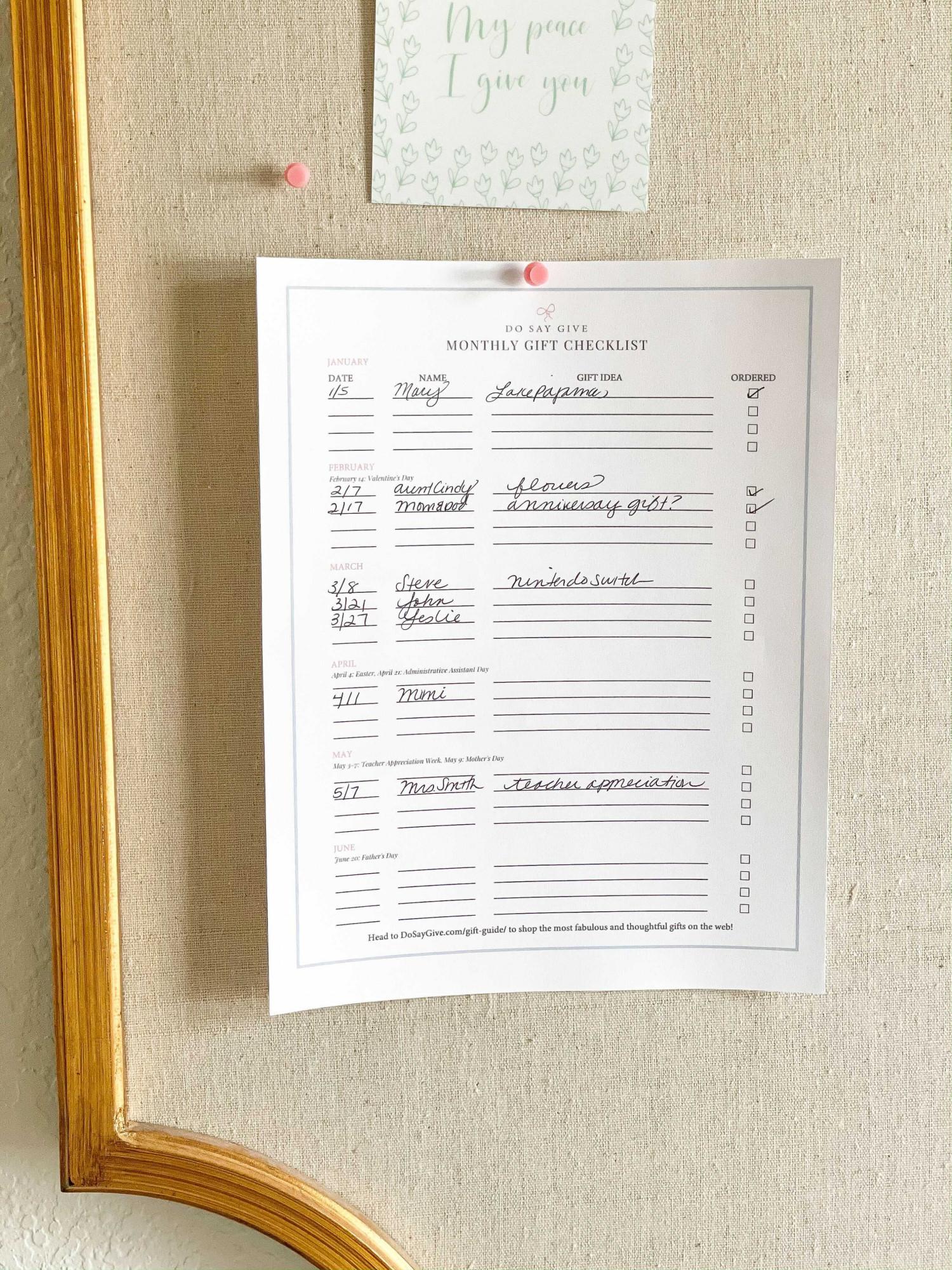 printable gift checklist