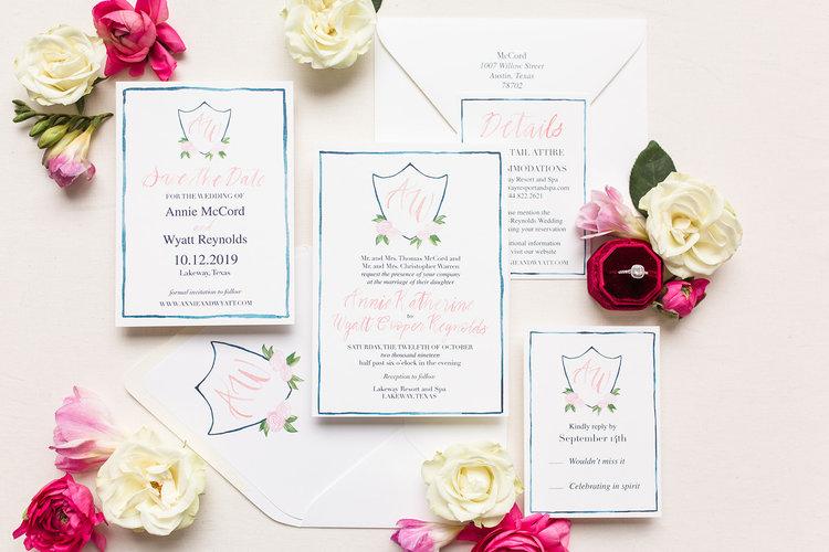 wedding invitation with crest